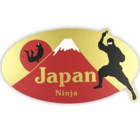 ステッカー 赤富士 忍者 オーバル和柄 JAPAN 日本 赤富士 忍者 富士山 オーバル デザイン おしゃれ 大人