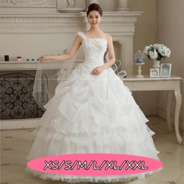 結婚式ワンピース 豪華な ウェディングドレス 花嫁 ドレス 体型カバー aライン チュールスカート 姫系ドレス ホワイト色