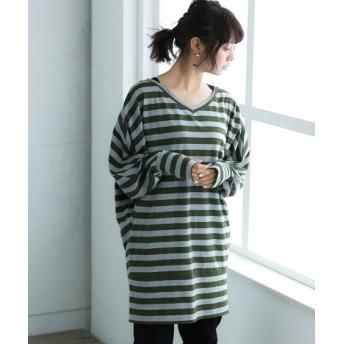 【ゆったりワンサイズ】指穴付裾切替ゆるっとドルマントップス (Tシャツ・カットソー)(レディース)T-shirts