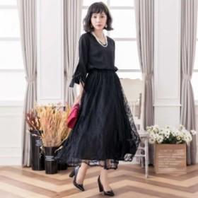 パーティードレス 結婚式 お呼ばれドレス 20代 30代 40代 袖あり ロング レース 黒ロングワンピース 大きいサイズ お呼ばれワンピース 成