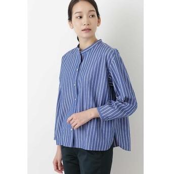 HUMAN WOMAN / ヒューマンウーマン ◆ブロードストライプスタンドカラーシャツ