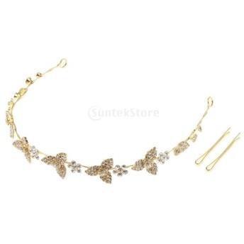 クラウンティアラ 王冠 ヘッドバンド 人工真珠 ラインストーン 女の子 パーティー 結婚式 ドレスアップ 2色選べる - ゴールド