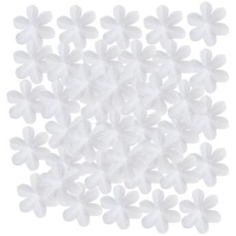 約500枚入り 造花 フラワー 花びら 結婚式 誕生日パーティー 装飾 髪飾り ケーキデコレーション 手芸用 DIY 10色選べ - 白