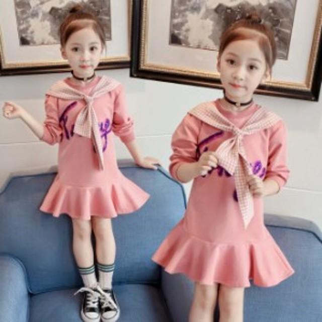 f2ca8ce6d7f57 韓国子ども服 女の子 長袖 ワンピース 秋着 お嬢様風 ワンピース 首周りリボン付き 可愛い