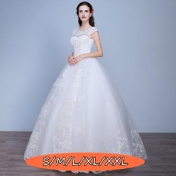 ウェディングドレス 結婚式ワンピース 丸襟 華やかな花柄レース 体型カバー aライン ロング丈ワンピ-ス ホワイト色