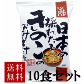 コスモス食品 送料無料 日本の採れたてきのこのおみそ汁 10食セット 化学調味料無添加