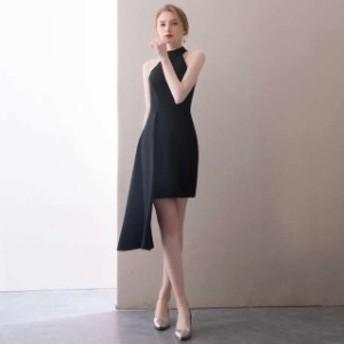 黒 スレンダーライン パーティードレス ミニドレス ワンピースドレス ワンピース ドレスワンピ タイトドレス お呼ばれドレス イブニング