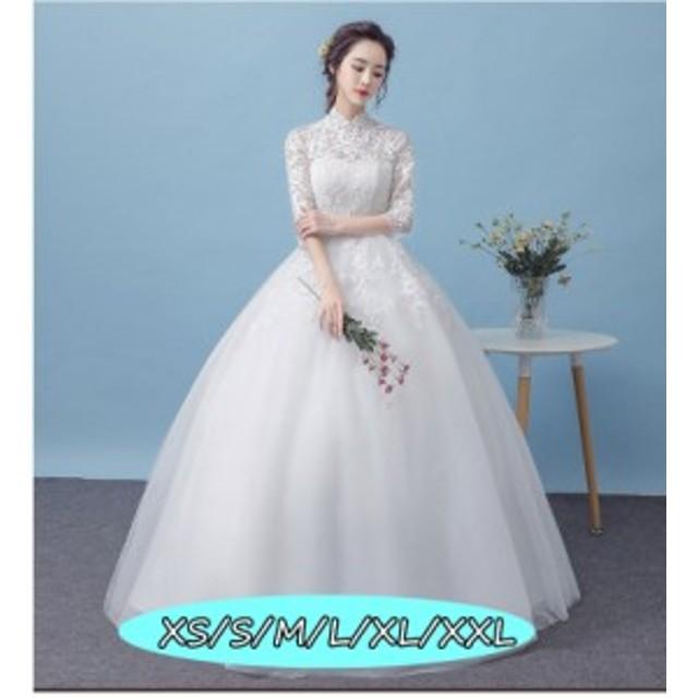 169abaf241bec 結婚式ワンピース お嫁さん ウェディングドレス 花嫁 高級刺繍 編み上げ式 体型カバー aライン