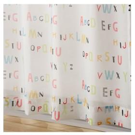 【送料無料!】アルファベットボイルレースカーテン(ことばのもり) レースカーテン・ボイルカーテン