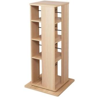 本棚 書棚 ブックシェルフ 置き場所を選ばない回転式書棚 カラー ナチュラル