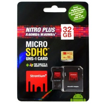 32GB microSDHCカード Strontium Nitro Plus Class10 UHS-I U3 R:80MB/s SDアダプター&USBアダプター付 海外リテール SRP32GTFU1C ◆メ