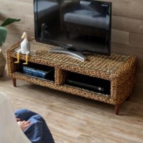 テレビ台 アバカ素材 強化ガラス天板 幅120cm 収納棚付き [96016] アジアンテイスト テレビボード リビングボード テレビラック 収納棚