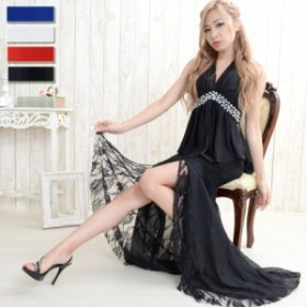 即納 胸元パールビーズ シフォン&レース飾り 背中リボン トップス&ロングスカート 2ピースドレス  パーティー キャバ嬢