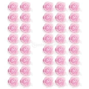 全13色選べ 50個入り ローズ 人工造花 結婚式 髪飾り 花ボール作り 帽子服装カバン 発泡メッシュ 4cm - ライトピンク