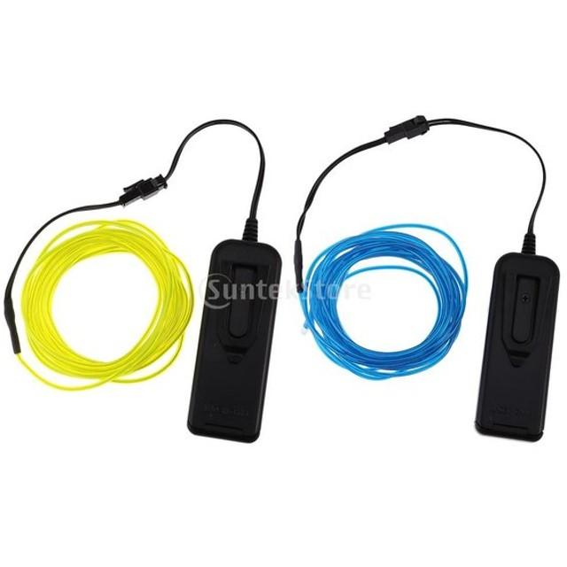 Perfk LED 装飾ライト 2個 ELワイヤー ネオン ステージ バー パーティー 車  5m コントローラー付 青 緑 白 黄 電池式 - 青+緑