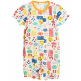 パジャマ ベビー 赤ちゃん 女の子 海あそび柄 腹巻付き 丸首 前開き 半袖 パジャマ 寝巻き 子供