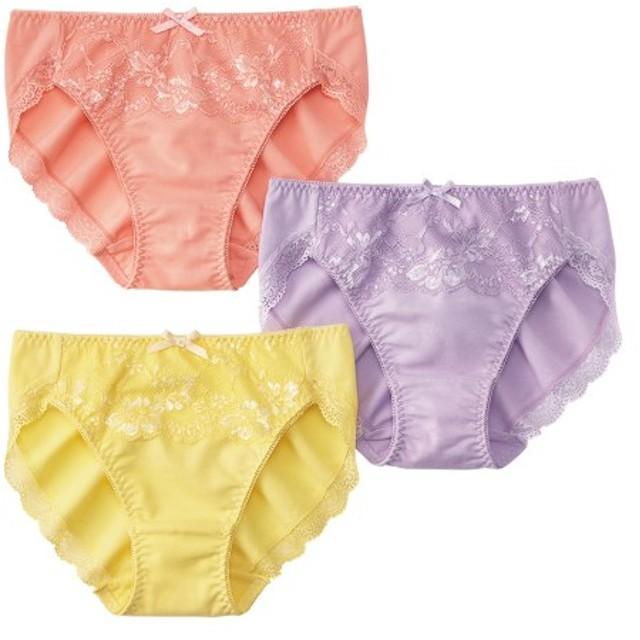 編みレース綿混ストレッチショーツ3枚組 スタンダードショーツ,Panties