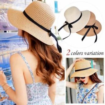 送料無料 つば広ハット 麦わら帽子 紫外線対策 UV対策 キャペリンハット レディース 春夏
