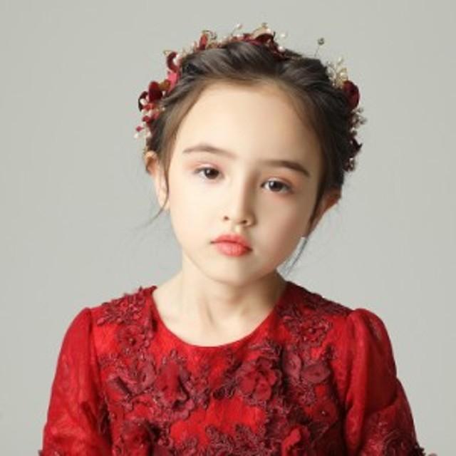8acf1c8a2d26e 子どもカチューシャ フラワーティアラ ヘアバンド 子供用 フォーマル 髪飾り ヘアアクセサリー キッズ 結婚式
