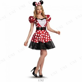 !! グラムレッドミニーマウス 大人用 S(4-6) 仮装 衣装 コスプレ ハロウィン 余興 大人用 コスチューム 女性 ディズニー ミニーマウス 女