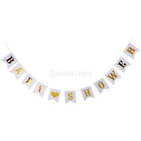 全4色 BABY SHOPWERバナー ガーランド ベビー 誕生日 パーティー ホーム ぶら下がり 装飾 - ゴールドホワイト, 説明したように