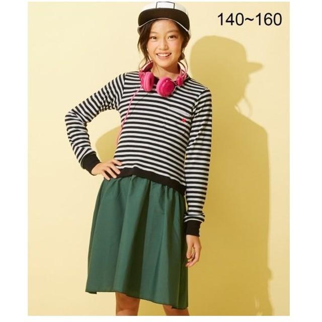 e92c2f02f6e4a ワンピース キッズ スムースボーダードッキング 女の子 子供服・ジュニア服 チュニック 身長140 150