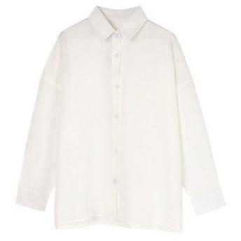 ユアーズ ur's リネンライクワイドシャツ (ホワイト)