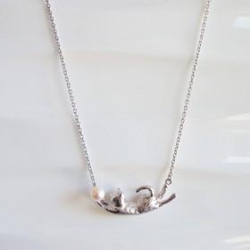 猫 アコヤ貝本真珠 シルバーペンダント