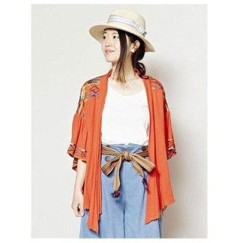 【チャイハネ】カラフル刺繍ショートカーディガン オレンジ