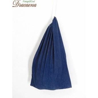 古着 バッグ デニム インディゴ 耳付き シンプル 巾着型 ランドリー バッグ 中型 青 雑貨 古着