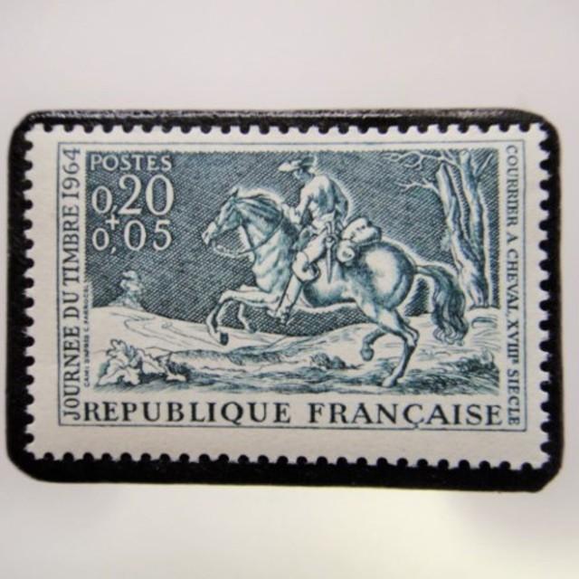 フランス 切手ブローチ3855