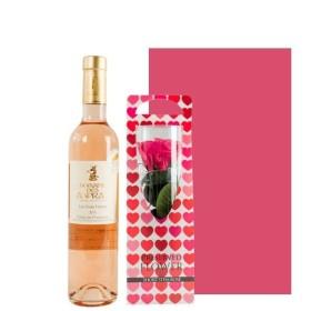 お酒 ギフト ワインとお花のセット フランス オーガニック ロゼワイン 500ml プリザーブドフラワー ピンク色のバラ ギフト箱 包装つき