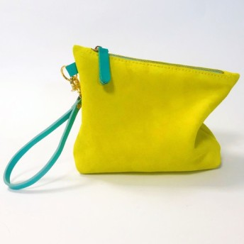 さわやかなレモンイエローのベルベットレザー化粧品バッグ/ハンドバッグ