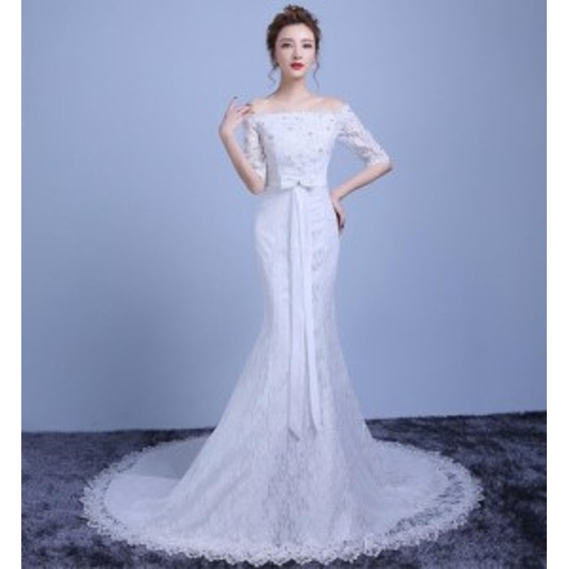 634a77d94541f Wedding dress ウエディングドレス ロングドレス マーメイドラインドレス パーティー 袖あり