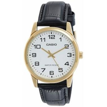 【当店1年保証】カシオCasio Men's MTPV001GL-7B Black Leather Quartz Watch