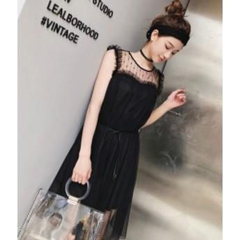 シースルースカート ミニスカート ドレス ノースリーブ ウエストリボン