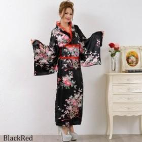 花魁 花魁ドレス 着物ドレス コスプレ 衣装 セール★レースフリルリボンつきサテン花魁着物ドレス♪ lr-250-bkr