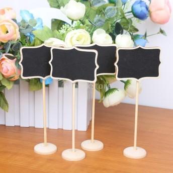 10個入り 木製の黒板 花形 テーブル番号 ブラックボード メニュー DIY クラフト用品 結婚式 パーティー 装飾