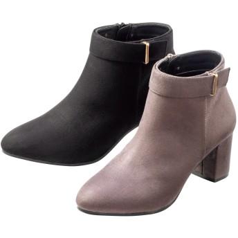 【格安-女性靴】レディースラインバックル付チャンキーヒールショート丈ブーツ