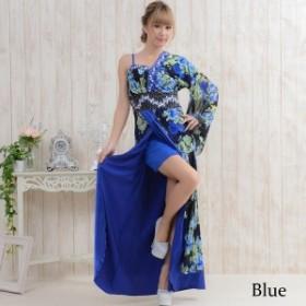 花魁 花魁ドレス 着物ドレス コスプレ 衣装 セール★サテンビジューワンショルロング着物ドレス♪フリーサイズ lr-314-bl