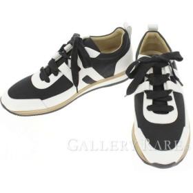 エルメス スニーカー パートナー Partner 黒 白 ヴォーエプソン メンズサイズ41 1/2 HERMES 靴 メンズ スポーツシューズ