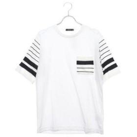 コムサイズム COMME CA ISM ニット ドッキング Tシャツ (ホワイト)