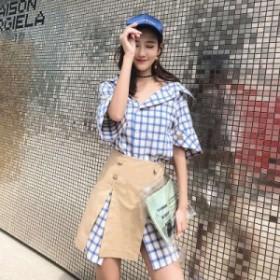 チェックワンピースにハイウエストスカートが可愛い☆上下セットアップ