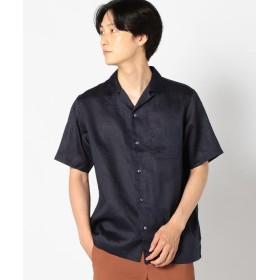 【30%OFF】 シップス SC: ファイン ラミー オープンカラーシャツ メンズ ネイビー LARGE 【SHIPS】 【セール開催中】