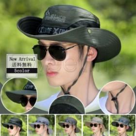 2018夏新作 サファリハット メンズ つば広帽子 メッシュ UVカット 紫外線対策 日焼け止め あごひも アウトドア 登山 釣り 送料無料
