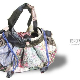 【送料無料】 着物リメイク リバティふんわりバッグ+大島 藍