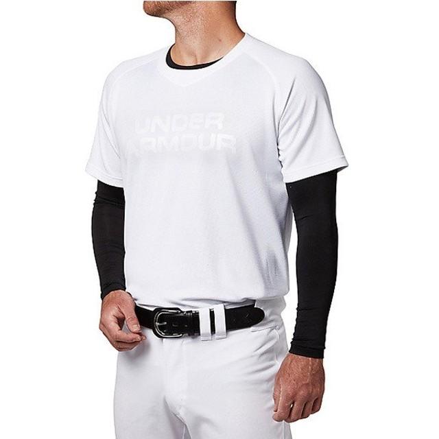 (セール)UNDER ARMOUR(アンダーアーマー)野球 半袖Tシャツ 18F UA BIG LOGO BASEBALL SHIRT 1319742 100 メンズ WHT