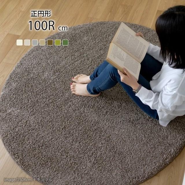 日本製 ラグマット TWISTY 100x100cm 円形 ラグ マット カーペット 無地 シンプル 防音 防ダニ 床暖 ホットカーペット 代引不可