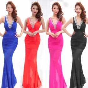 胸元キラキラ Vネック ロング ドレス vネック レース ナイトドレス スパンコール S M L XL 2XL ノースリーブ  ホワイト ブラック ブルー