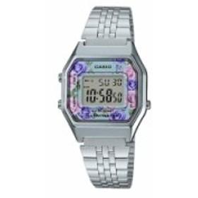 【当店1年保証】カシオCasio LA680WA-2C Women's Vintage Floral Dial Alarm Chronograph Digital Watch